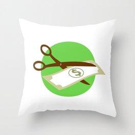 Cutting Dollar Bill With Scissors Retro Throw Pillow