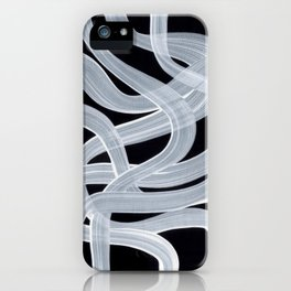 Smoky Black And White Pattern Minimalist Mid Century Ghostly Tribe Art iPhone Case