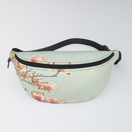 Pink Magnolia Flowers on Aqua Blue Green and French Script Fanny Pack