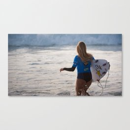 Alana Blanchard, Surfing during world tour of surf Canvas Print