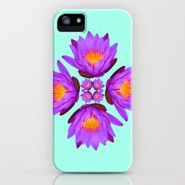 Purple Lily Flower - On Aqua Blue iPhone Case