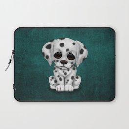 Cute Dalmatian Puppy Dog on Blue Laptop Sleeve