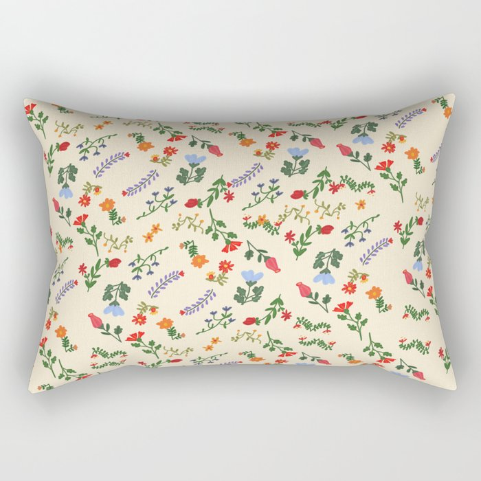 Bright Vintage Flower Pattern Rectangular Pillow