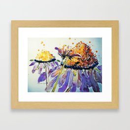 Poppin Purple Echinacea watercolor by CheyAnne Sexton Framed Art Print