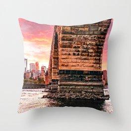 Minneapols Skyline Under the Stone Arch Bridge Throw Pillow
