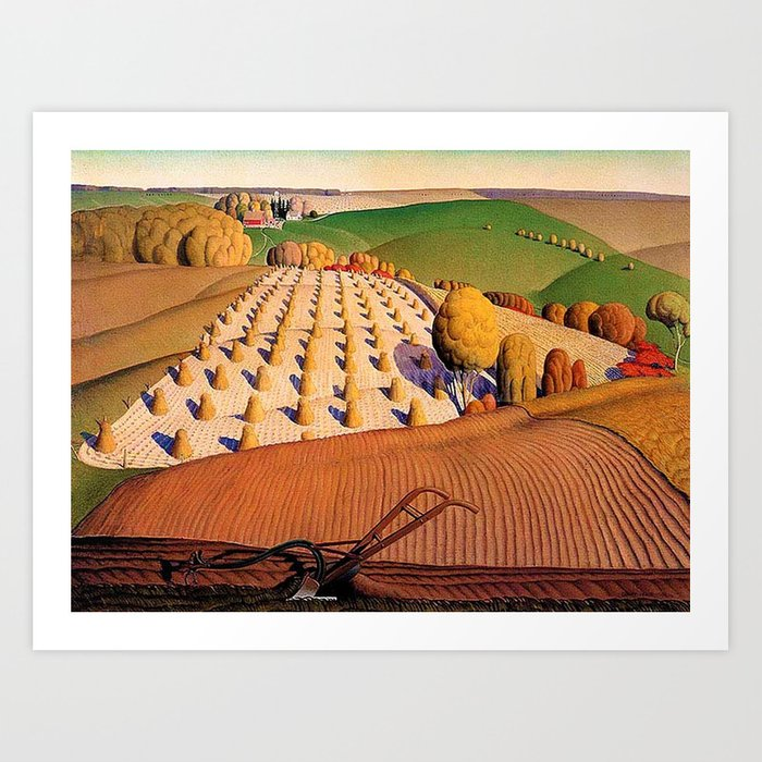 Classical Masterpiece 'fall Plowing' By Grant Wood Art Print by Jeanpaul Ferro - X-Small