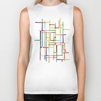 mondrian Biker Tanks featuring The map (after Mondrian) by Picomodi