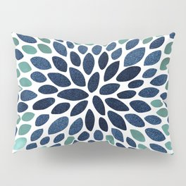 Flower Bloom, Aqua and Navy Pillow Sham