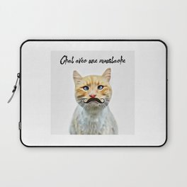 chat avec une moustache (Cat with a mustache in French) Laptop Sleeve