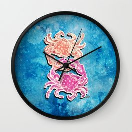 Crab_free lovers_Dots on French Blue Splatter_Hand Painted modern watercolor Wall Clock