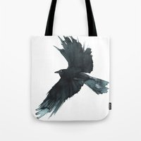 crow Tote Bags featuring Crow by Cat Graff
