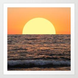 Fiery Ocean Sunset Art Print