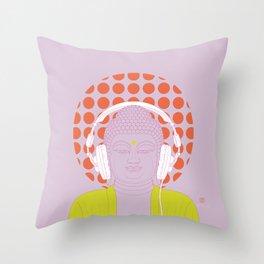 Buddha : Listen to Om! (PopArtVersion) Throw Pillow