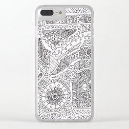 Day of the dead trooper doodle Clear iPhone Case