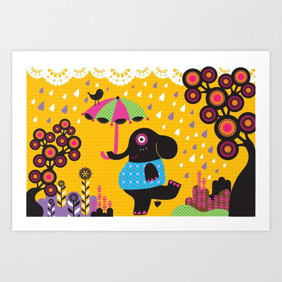 Elephant dancing in the rain Art Print