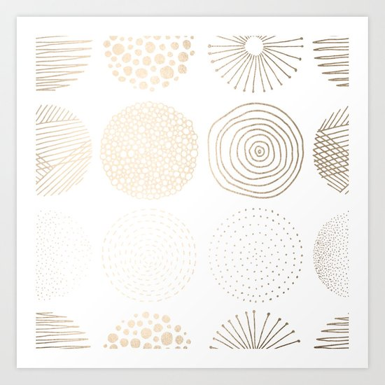 Simply Mod Circles in White Gold Sands on White Art Print