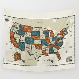 USA Vintage Map Wall Tapestry