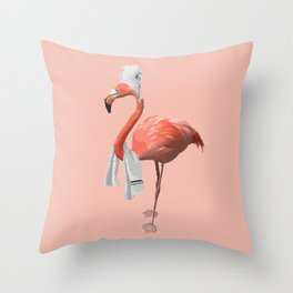Squeaky Clean Flamingo Throw Pillow