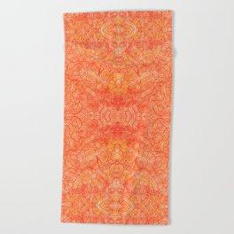 Red and orange swirls doodles Beach Towel