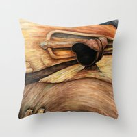 truck Throw Pillows featuring Old Truck by Kirsten Neil
