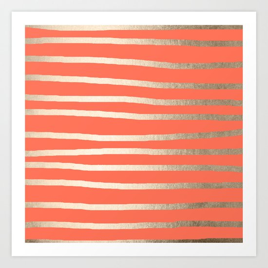 Simply Drawn Stripes in White Gold Sands on Deep Coral Art Print