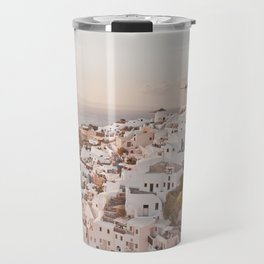 Santorini golden sunset, white houses, dome churches, reflection Travel Mug