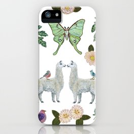 Llama and Luna Moth iPhone Case