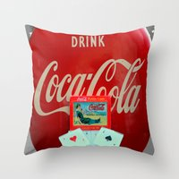 coasters Throw Pillows featuring Then Again... by oneofacard
