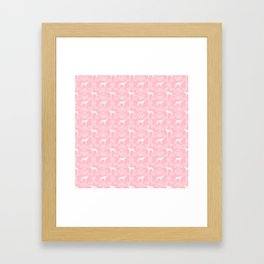 Greyhound floral silhouette pink and white minimal dog silhouette dog breed pattern Framed Art Print