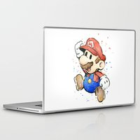 mario bros Laptop & iPad Skins featuring Mario Watercolor by Olechka