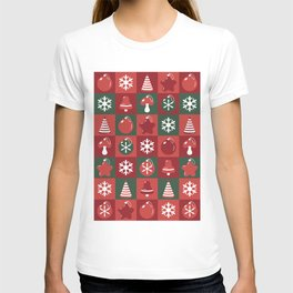 Festive pattern with Christmas ornaments T-shirt