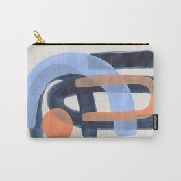 Midcentury Modern Minimalist Funky Cool Tribal Pattern Paynes Grey Pastel Blue Tan Shapes by Ejaaz Haniff Carry-All Pouch
