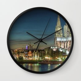 Cologne Cathedral and Cologne, Germany Skyline at Twilight Wall Clock