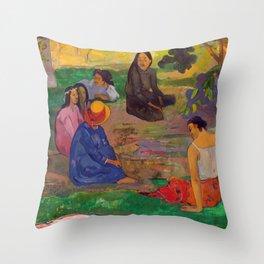 """Paul Gauguin """"Conversation"""" Throw Pillow"""