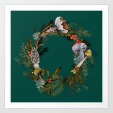 Mushroom Forest Wreath Art Print