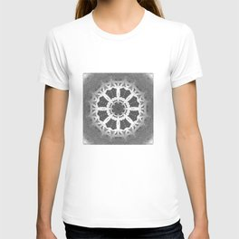Grey and white delicate Flower Stamp Abstract T-shirt