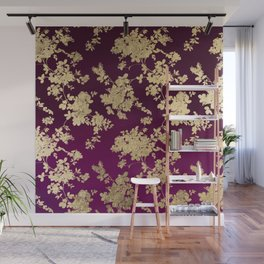 Chic faux gold burgundy ombre watercolor floral Wall Mural