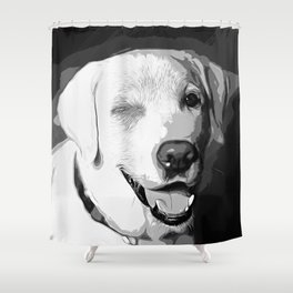 labrador retriever dog winking vector art black white Shower Curtain
