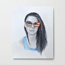 Reflections. Woman Portrait with American flag reflecting in sunglasses Metal Print