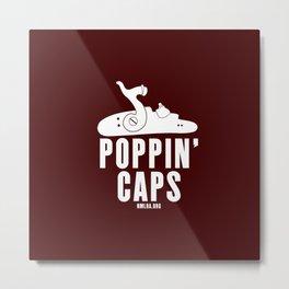 Poppin' Caps - Maroon Metal Print