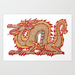 Old China Dragon Art Print