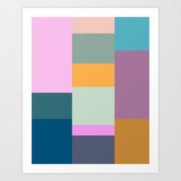 Geometric Color Block Shapes Art Print