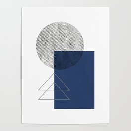 Navy blue abstract graphic Poster