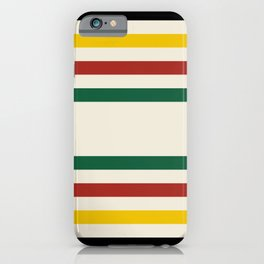 Rustic Lodge Stripes Black Yellow Red Green iPhone Case