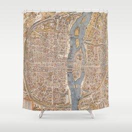 Vintage Map of Paris (1550) Shower Curtain