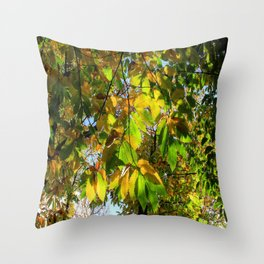 Covered by Leaves Throw Pillow