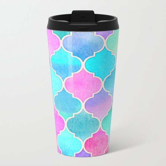 Bright Moroccan Morning - pretty pastel color pattern Metal Travel Mug