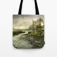 cassia beck Tote Bags featuring The Beck at Staithes by tarrby/Brian Tarr
