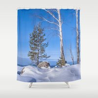 russia Shower Curtains featuring Winter in Russia by Svetlana Korneliuk
