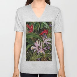 Tropical Wildflowers, Birds of Paradise and Orchids still life painting Unisex V-Neck